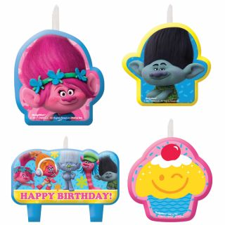 Trolls Birthday Candle Set - Pack of 4