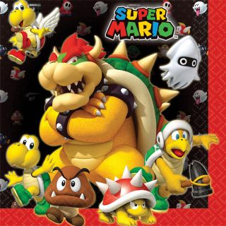"""6.5"""" Super Mario Lunch Napkins - Pack of 16"""