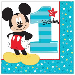 """6.5"""" Mickey 1st Lunch Napkins - Pack of 16"""