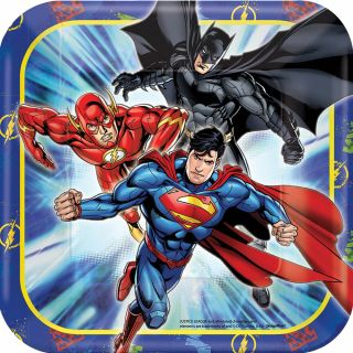 """7"""" Justice League Square Plates - Pack of 8"""