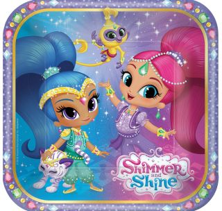 """7"""" Shimmer Shine Square Plates - Pack of 8"""