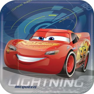 """9"""" Disney Cars 3 Square Plates - Pack of 8"""