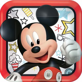 """9"""" Disney Mickey Square Plates - Pack of 8"""
