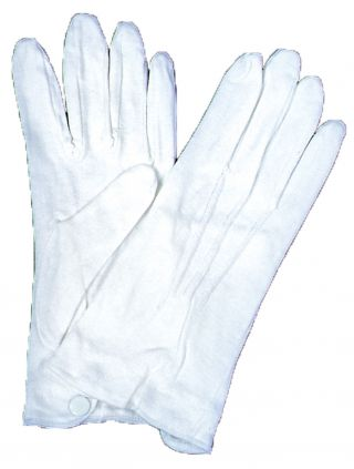 White Cotton Gloves with Snap