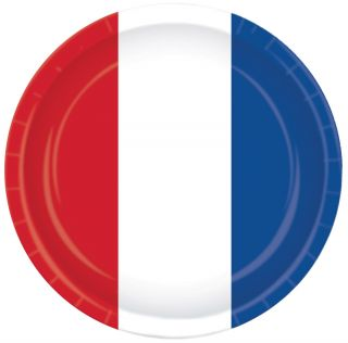 """9"""" Red White Blue Plates - Pack of 8"""