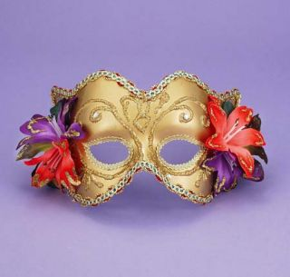 Women's Gold Venetian Mask with Flowers