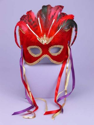 Women's Red & Black Venetian Mask