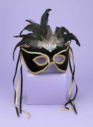 Women's Black & Gold Venetian Mask