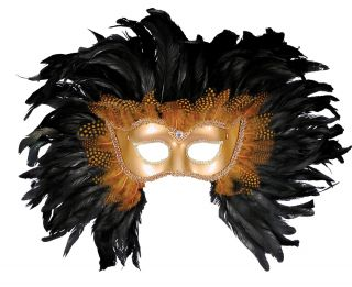 Women's Gold Half Mask with Feathers