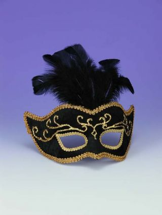 Women's Black Half Mask with Gold Trim