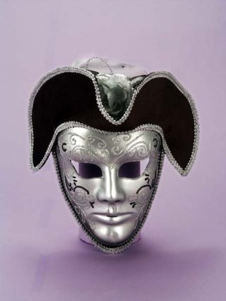 Men's Silver & Black Venetian Mask