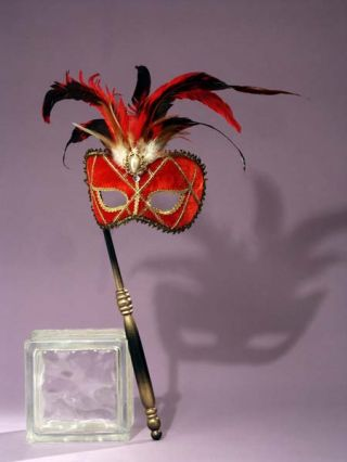 Women's Red Venetian Mask with Stick