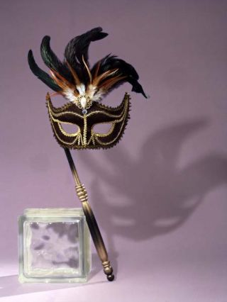 Women's Black Venetian Mask with Stick