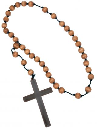 Monk Cross with Wooden Beads