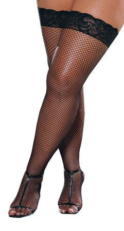 Thigh-High Fishnet with Lace Bk Queen