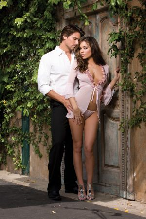 Mesh Robe Babydoll with Thong