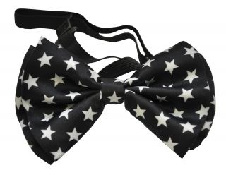 Bow Tie Black with White Stars