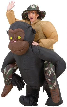 Adult Riding Gorilla Inflatable Costume