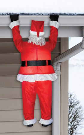 Airblown Santa Hanging From Roof Inflatable