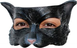 Black Kitty Latex Half Mask