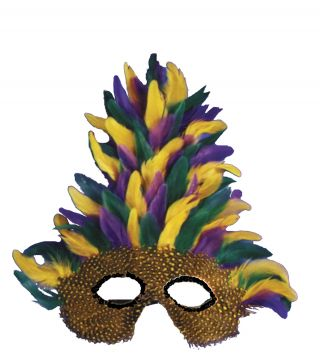 Tall Feather Mardi Gras Mask