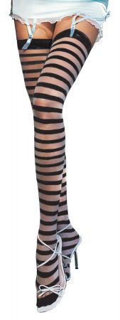Sheer Black Thigh-Highs with Stripe