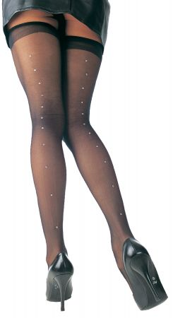 Sheer Thigh-Highs with Rhinestones