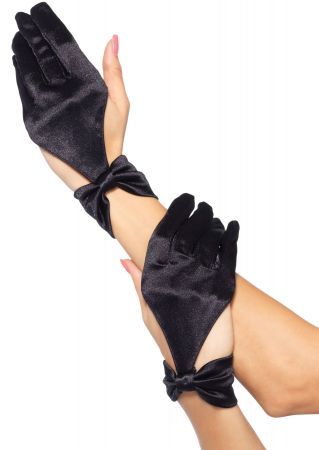 Black Satin Gloves with Cut Out