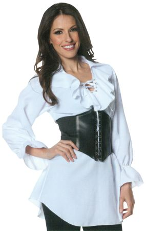 Plus Size Laced-Front Pirate Blouse