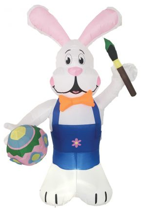 7' Inflatable Bunny with Brush Egg